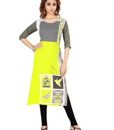 Yellow printed rayon party-wear-kurtis