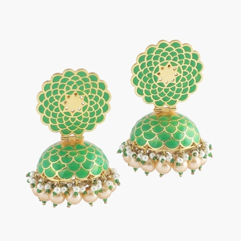 Parrot Green Handpainted Meenakari Earrings With Pearl Hangings