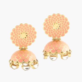 Peach Handpainted Meenakari Earrings With Kundan Droplets