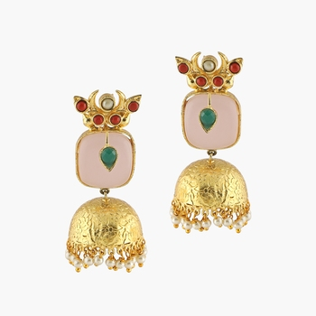 Tribal Peach Stone And Gold Finish Earrings