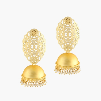 Gold Platting Filigree And Pearl Jhumkay