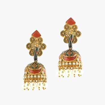 Meenakari Peacock Earrings With Pearl Danglings