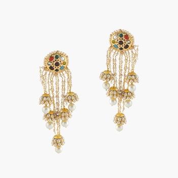 Navratan Studs With 5 Panchi Jhumki Earrings