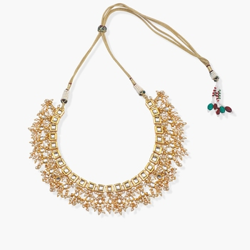 square Kundan and jhallar neckpiece