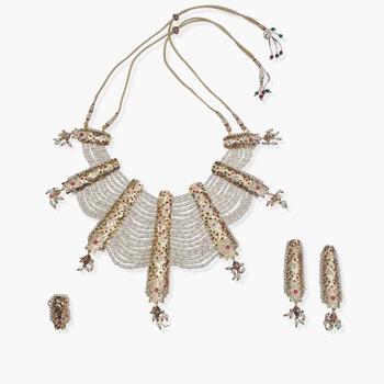 Jadau Pearl Layered Neckpiece With Earrings & A Ring