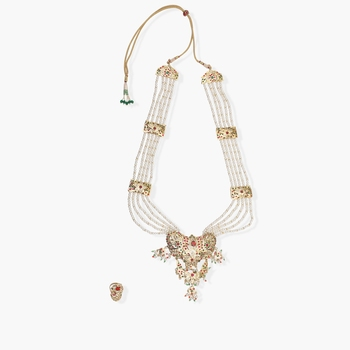 Jadau multicolor neckpiece with pearls and matching earrings -ring