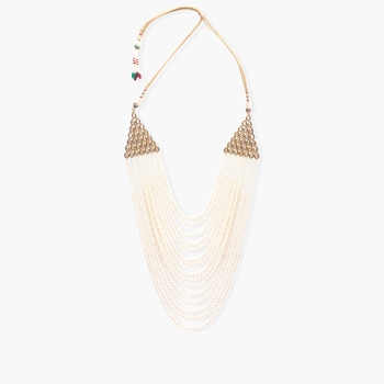 Multi layered pearl and kundan neckpiece