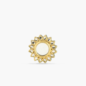 Glass Kundan Meenakari Ring, Adjustable