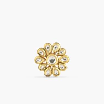 Flower Kundan Ring, Adjustable