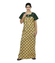 Green & Beige colour Geometrical Design Printed Square Neck Cotton Nighty For Ladies Nightwear