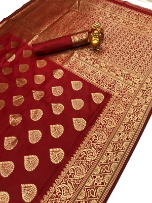 Red Jacquard Cotton Printed Saree With Blouse