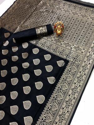 Black Jacquard Cotton Printed Saree With Blouse