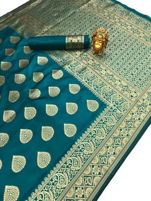 Green Jacquard Cotton Printed saree with blouse