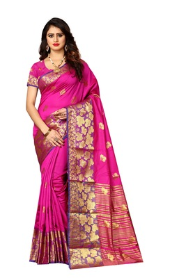 Rani pink woven silk blend saree with blouse