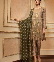 Beige embroidered cotton  pakistani salwar with dupatta