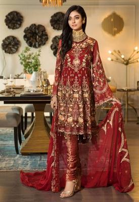 Red embroidered chiffon pakistani salwar with dupatta