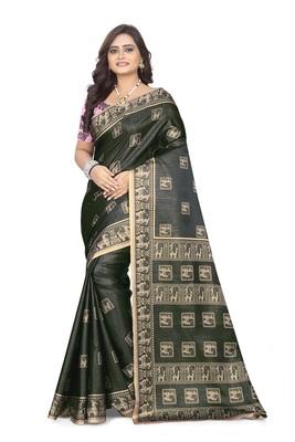 Grey printed satin saree with blouse