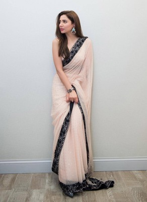 Light peach colour  embroidered georgette saree with blouse