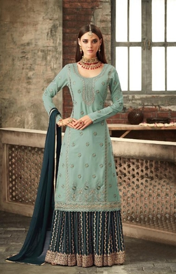 Light-teal embroidered faux georgette salwar