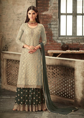 Light-grey embroidered faux georgette salwar