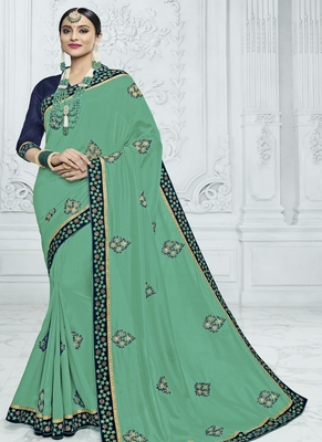 Sea green embroidered art silk saree with blouse