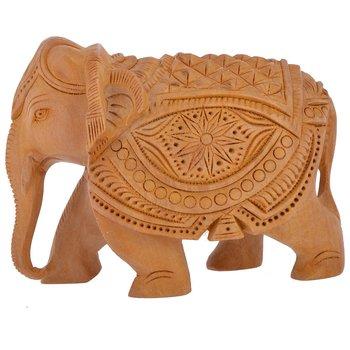 Wooden Handicraft Home Decor Elephant Showpiece Rajasthani Handicrafts/2.5 inch (8 cm * 5 cm * 7 cm, Brown)