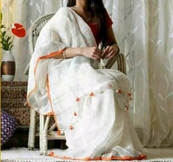White Linen saree with blouse