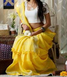Yellow Linen Saree With Blouse