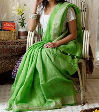Light Green Linen saree with blouse