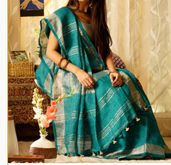 tourquise linen saree with blouse