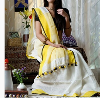 White Linen saree with yellow border and with blouse