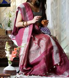 Wine Linen saree with blouse