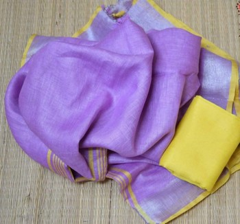 Purple Linen saree with blouse