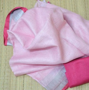 Baby Pink Linen Saree With Blouse