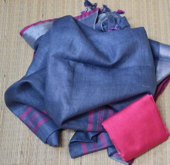 Dark Blue Linen Saree With Blouse