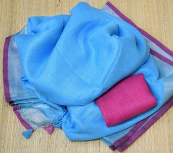 Blue Linen Saree With Zari Border And With Blouse