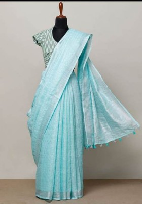 Light Blue Linen saree with zari border and with blouse