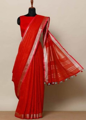 Red Linen Saree With Zari Border And With Blouse