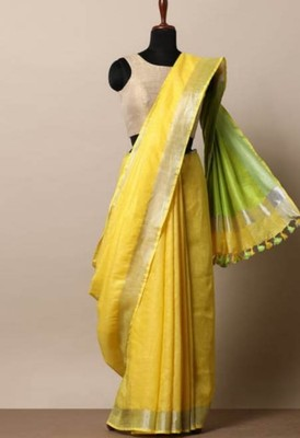 Yellow Linen saree with zari border and with blouse
