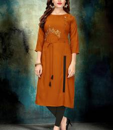 Mustard embroidered rayon long-kurtis