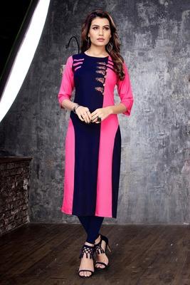 Rani-pink embroidered rayon long-kurtis