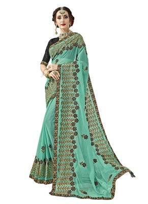Aqua blue embroidered georgette saree with blouse