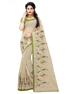 Cream embroidered organza saree with blouse