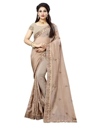 Grey embroidered organza saree with blouse