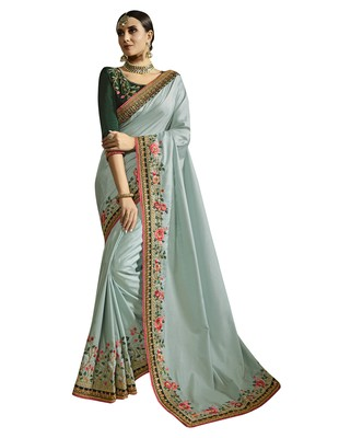 Light grey embroidered silk blend saree with blouse