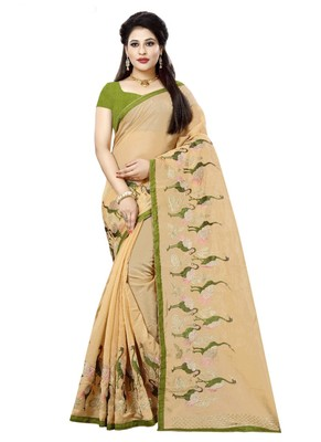 Light orange embroidered organza saree with blouse