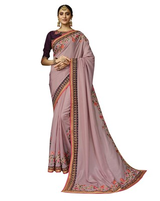 Light pink embroidered silk blend saree with blouse