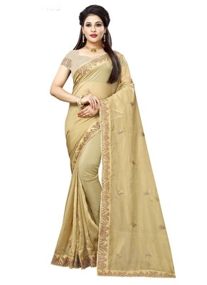 Light yellow embroidered organza saree with blouse
