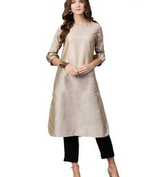 Beige plain art silk long kurti