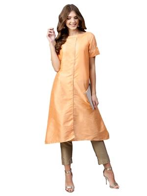 Peach plain art silk long kurti